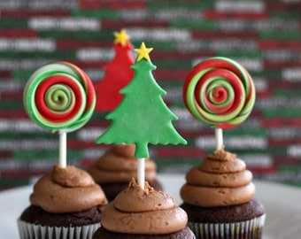 Fondant Christmas Tree and Lollipop Toppers for Decorating Cupcakes or other Holiday Treats