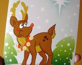Holiday Rudolph Reindeer Greeting Card - Christmas Cute Greeting Card - 5x7