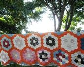 Antique Primitive 1930's Grandmothers Flower Garden Vintage Quilt - Feedsacks - A Charmer