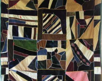 Antique Strip IMPROVISATIONAL CRAZY Vintage Quilt - Work of ART - Quilts Make Great Gifts