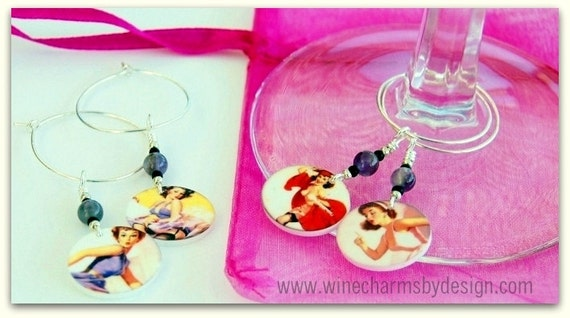 Pinup Drink Tags - Wine Charms (Set of 4)