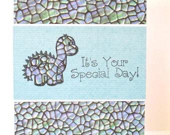 Birthday Card, Kids Birthday, Dinosaur Birthday Card, Handmade Birthday Cards for Kids, Clearance