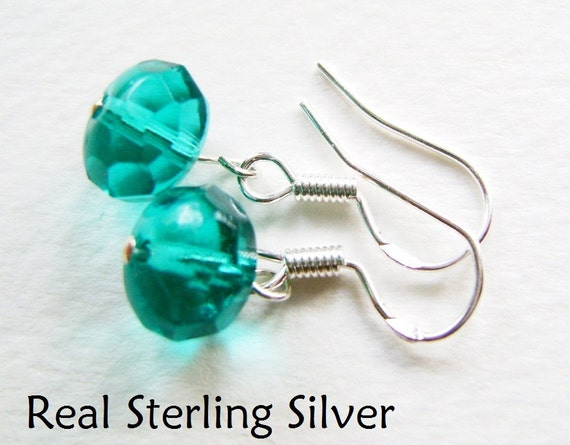 925 REAL SILVER Teal Fire Polished Rondelle Glass Bead Earrings