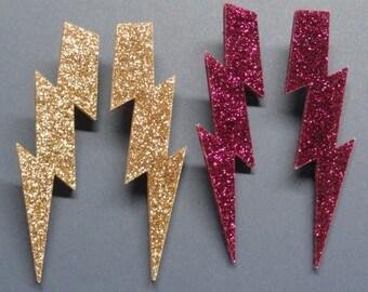 "5"" Glam Style Extra Large GLITTER or Pearl Lightning Bolt Earrings"