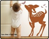 "Baby Deer Wall Decal  - Baby Fawn & Butterflys nursery wall decal Toddlers room decor  23"" x 34"""