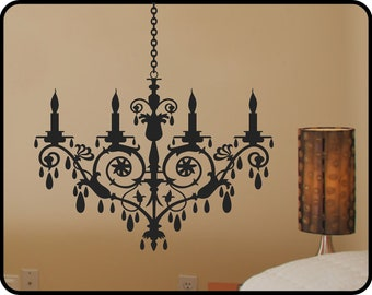 """crystal CHANDELIER wall decal - removable modern vinyl wall decal sticker 28"""" x 49"""""""
