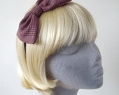 Pink Headband- Pink-Purple Tweed Bow Headband