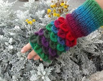 Multicolor Crocodile Fingerless Mittens. Wool Wrist Warmers. Winter Fingerless Gloves. Handmade Women Accessories. Christmas Gift by dodofit