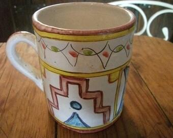LARGE CERAMIC MUG, vintage, Portuguese,handmade, cottage chic, artisanal
