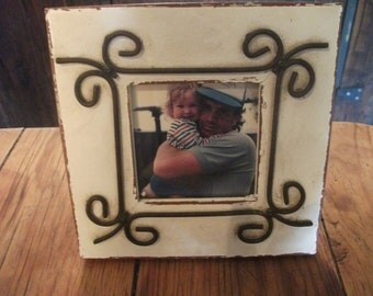 vintage WOOD and METAL FRAME, cottage, country, shabby chic, beach