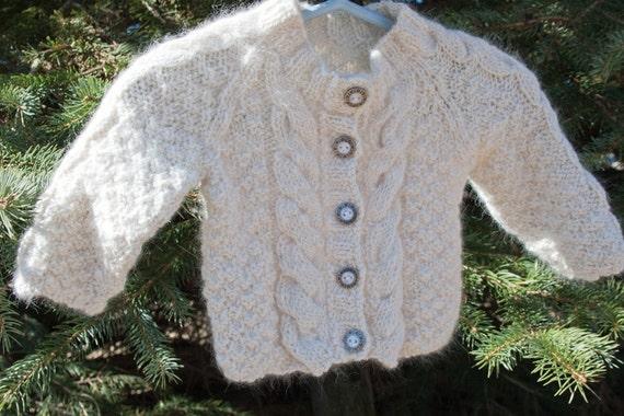 Sale: Hand Knit Angora and Wool Baby Sweater Cardigan, Luxury Heirloom Quality