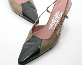 Salvatore Ferragamo Slingbacks in Black and Tan