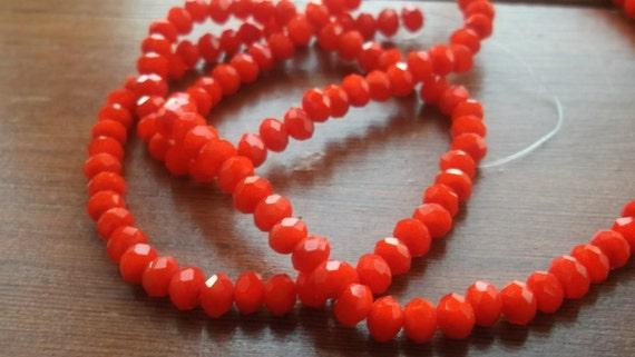 Opaque orange czech glass roundelles 4x3 20 pieces