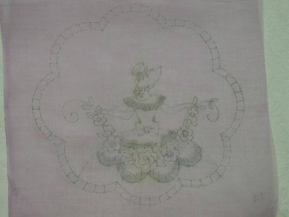 Sweet Vintage Stamped Boudoir Pillow Top Lavender, Bonnet Lady