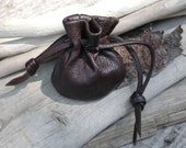 Mini Leather Drawstring Pouch Bag Dark Chocolate Brown Leather by Shirlbcreationstoo