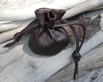 Leather Drawstring Pouch Bag Small Bag Coin Pouch Money