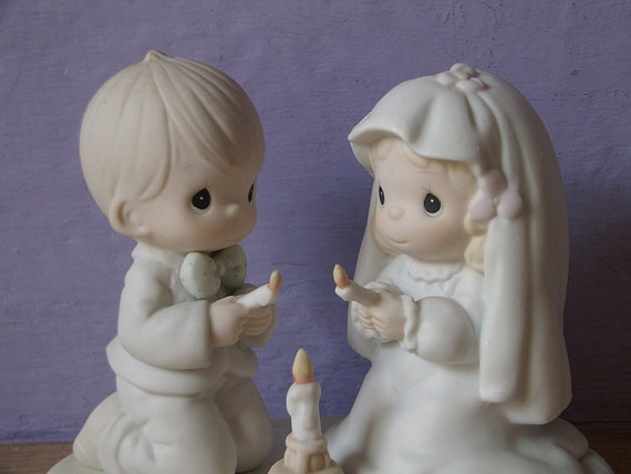 vintage Precious Moments figurine, The Lord is Your Light to Happiness, 1990, wedding bride groom figurine, collectible, heavenly love