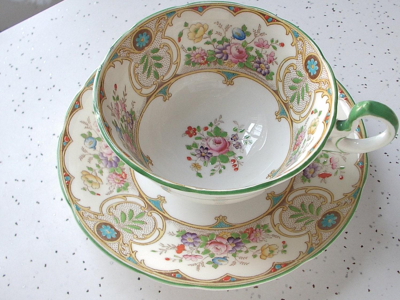 antique aynsley tea cup and saucer set 1930 39 s by shoponsherman. Black Bedroom Furniture Sets. Home Design Ideas