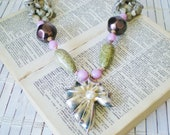 Mermaid Seashells Statement Necklace OOAK Moss Green Lilac & Black