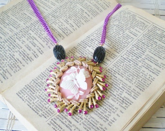 Pink Cameo Butterfly Statement Necklace Purple chains Upcycled Vintage Bejeweled Pendant OOAK
