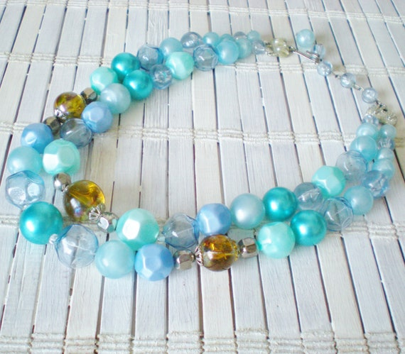 Vintage Sky Blue Bubbles Beaded Necklace 1950's 2 Strand Retro Chic
