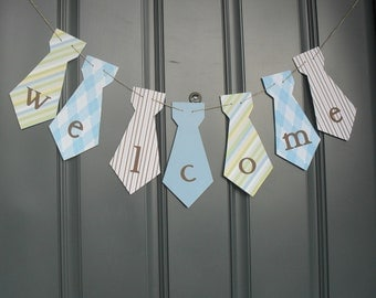 Custom listing for Tricia Little Man necktie banner Birthday party, baby shower - Blues