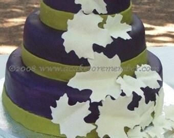 Gumpaste leaves for wedding cake, DIY wedding cake decorations, cake decorating, cake supplies