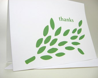 Green Thank You Card with Bright Leafy Design