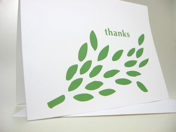 Thank You Cards Bright Leafy Green Casual Note Nature Tree Informal Modern