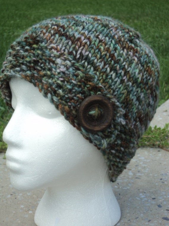Button Beanie, Hand Painted Alpaca and wool, Wood Button