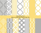 """Yellow and Grey - Digital Paper Pack (12 x 12""""-300 dpi) - 14 Digital papers"""