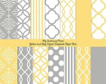 "Yellow and Grey - Digital Paper Pack (8 1/2 x 11""-300 dpi) - 14 Digital papers"
