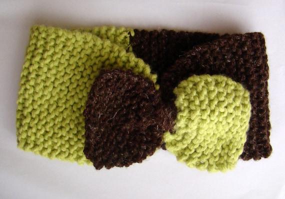 Handknitted  Green - Brown Headband, Ear warmer