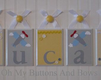 Name Blocks . Nursery Name Blocks . Nursery Decor . Baby Name Blocks . Hanging Wood Name Blocks . Aviation . Airplane . Plane