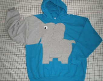 Elephant trunk sleeve HOODIE, hooded sweatshirt, elephant shirt,  Turquoise blue, ADULT small