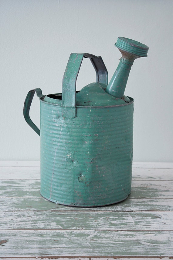 1940s Turquoise galvanized watering can