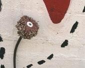 Found Object Flower Art, Metal Flower, Industrial Decor, Maroon, Rusty Whimsical 3D Metal Art