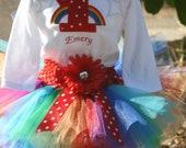 Rainbow Tutu Birthday Outfit, 3 piece set: tutu, embroidered shirt, headband