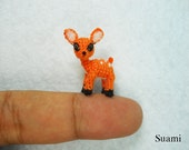 Lovely Fawn Deer - Micro Crocheted Orange Fawn Deer - Made To Order