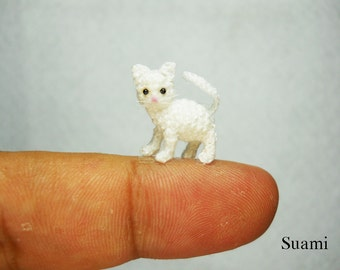 White Cat Kitten - Micro Miniature Crochet Cats - Made to Order
