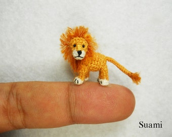 Miniature Crochet Lion - Micro Mini Amigurumi Crochet Tiny Animal Doll - Made To Order