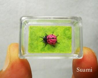 Micro Pink Ladybug - Tiny Crochet Miniature Ladybug - Made To Order