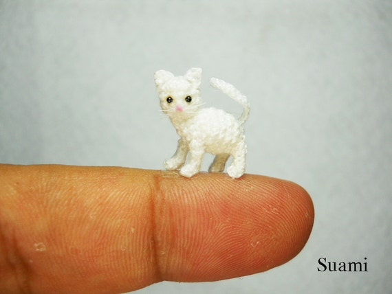 White Cat Kitten - Micro Miniature Crochet Cats - Made to Order