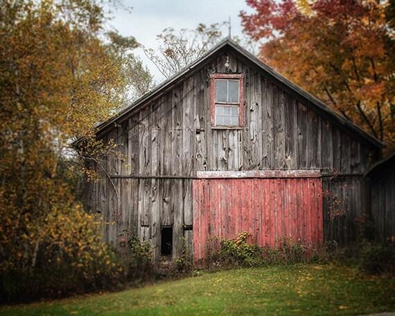 Farmhouse Decor Grey Barn Landscape Barn Art By