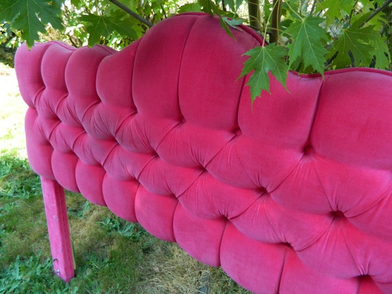 Reserved Vintage Pink Velvet Tufted Headboard Full Size