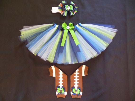 Seattle Seahawks inspired tutu set custom made your choice of size up to a 4t