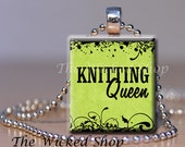 Scrabble Tile Pendant -Knitting Queen- on  Green background - Scrabble Tile Necklace - Free Silver Plated Ball Chain (KNIT4)