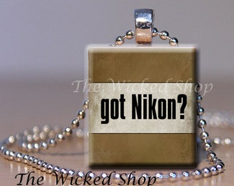 Scrabble Tile Pendant - Got Nikon  -  Free Silver Plated Ball Chain (PHOTO1)