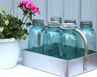 One Antique Blue Ball Mason Half Gallon Jar - Collectible Canning Jar - Wedding - Farmhouse Rustic - Beach - Holiday Decor - Home Decor