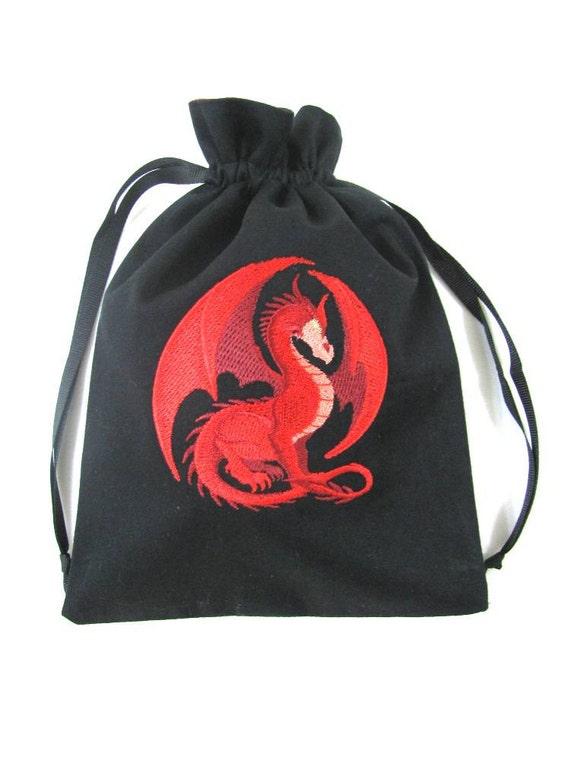 Drawstring Bag with Machine Embroidered Ruby Dragon Design - Small - Dice Bag, Tarot, Wristlet